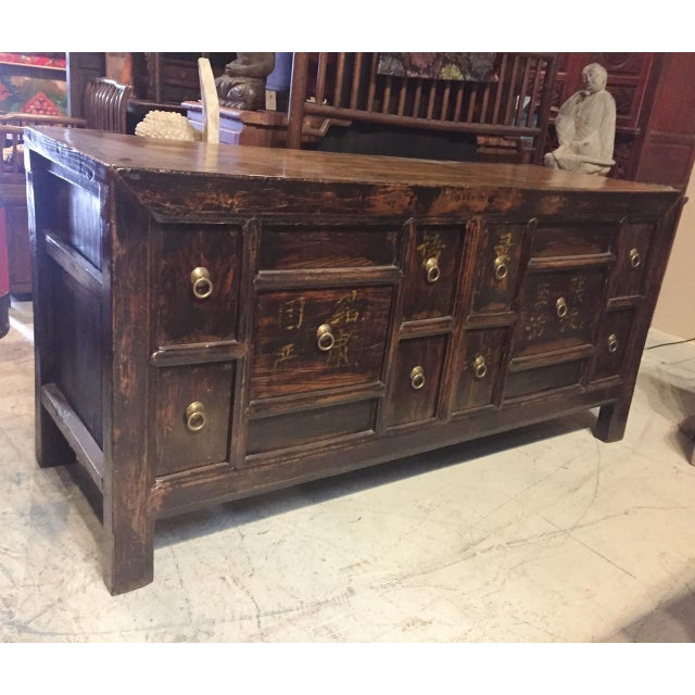 Asian Antique Solid Wood Chest of Drawers For Sale - Image 3 of 11