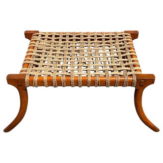 Vintage Klismos Mahogany and Woven Rope Bench, in the Manner of Robsjohn-Gibbons For Sale