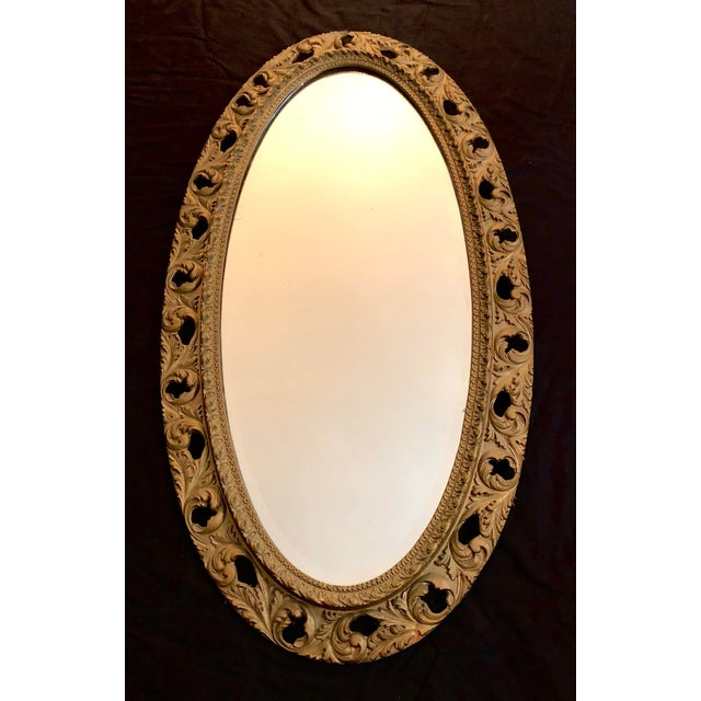20th Century Italian Gilt Carved Wood Oval Beveled Wall Mirror For Sale - Image 4 of 10