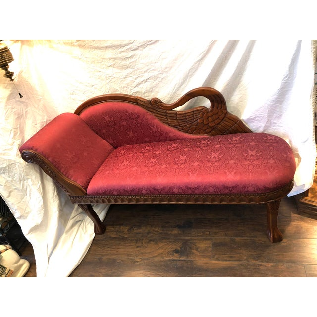 1940s Antique Raspberry Chaise For Sale - Image 13 of 13
