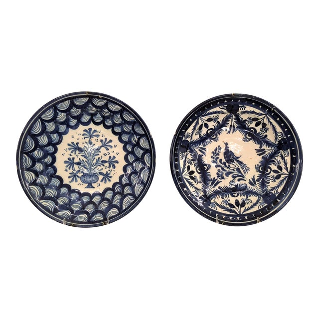 Pair Antique French Faience Blue and White Chargers, Circa 1890-1910. For Sale