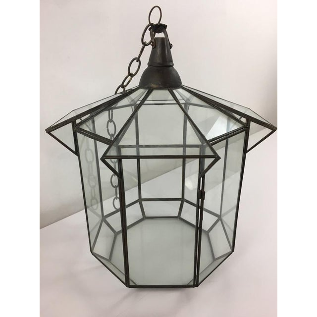 Moroccan Brass and Clear Glass Lantern For Sale - Image 4 of 7