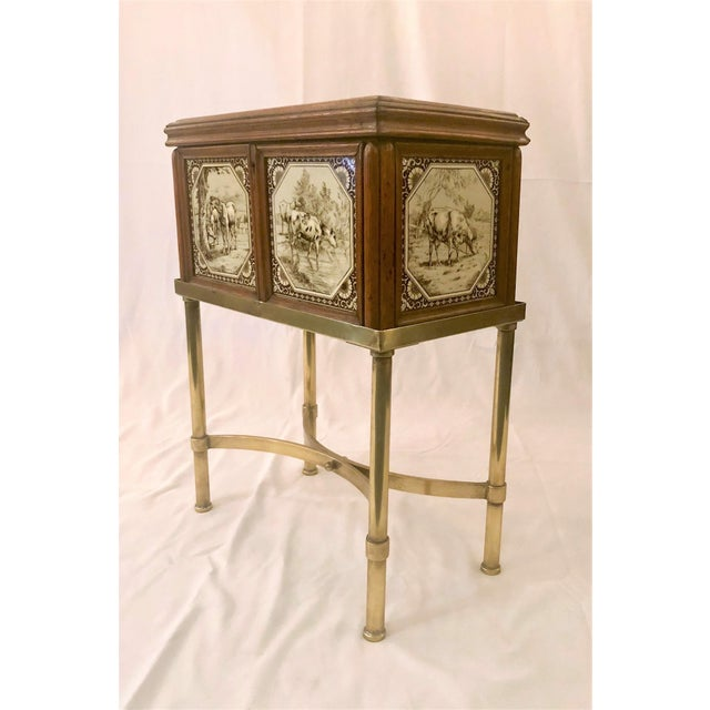 Antique English Humidor on Stand Inlaid With Minton Porcelain Tiles Depicting Horses and Livestock Scenes, Circa 1860-1880. For Sale - Image 4 of 7