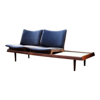 1960s Vintage Gerald McCabe 2 Seater Vinyl and Walnut Platform Sofa For Sale