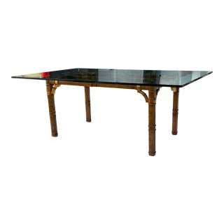 Mid-Century Modern Faux Bamboo & Bronze Fretwork Base Large Rectangular Glass Top Dining Table Manner of Drexel For Sale