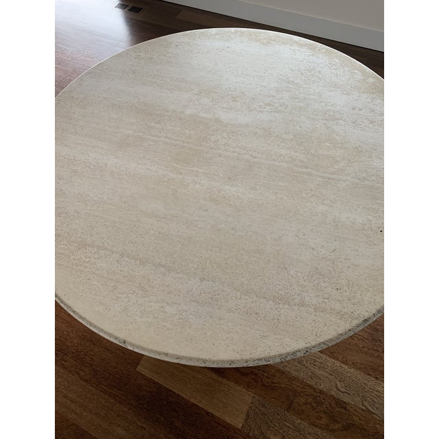 1970s Hollywood Regency Round Travertine Dining Table For Sale In Seattle - Image 6 of 11