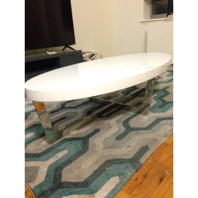 White Oval Oyster Coffee Table - Image 2 of 4