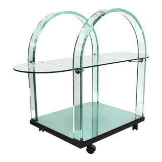 Italian Modern FIAM Curved Glass and Mirror Bar Cart For Sale