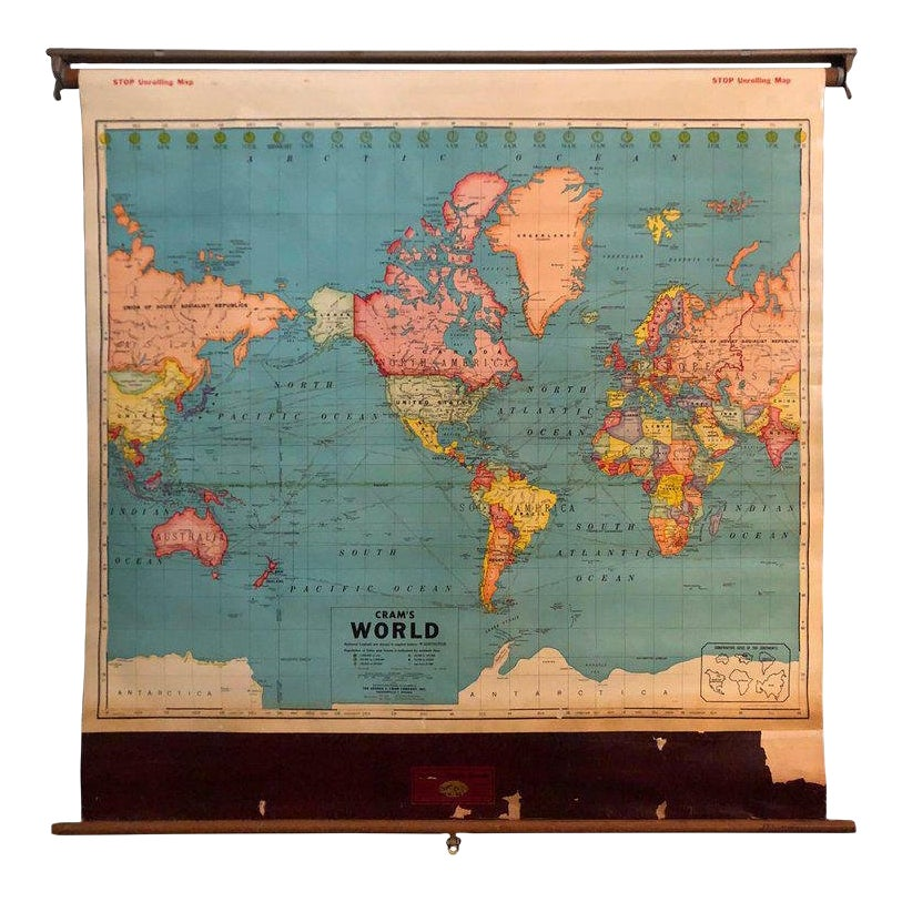 1950s Vintage Retro Roller Wall World Map | Chairish