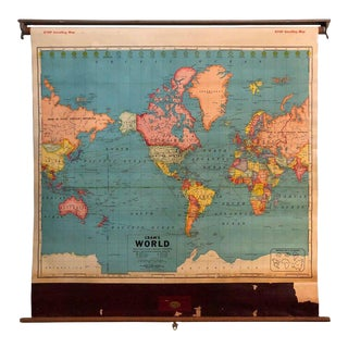 1950s Vintage Retro Roller Wall World Map For Sale