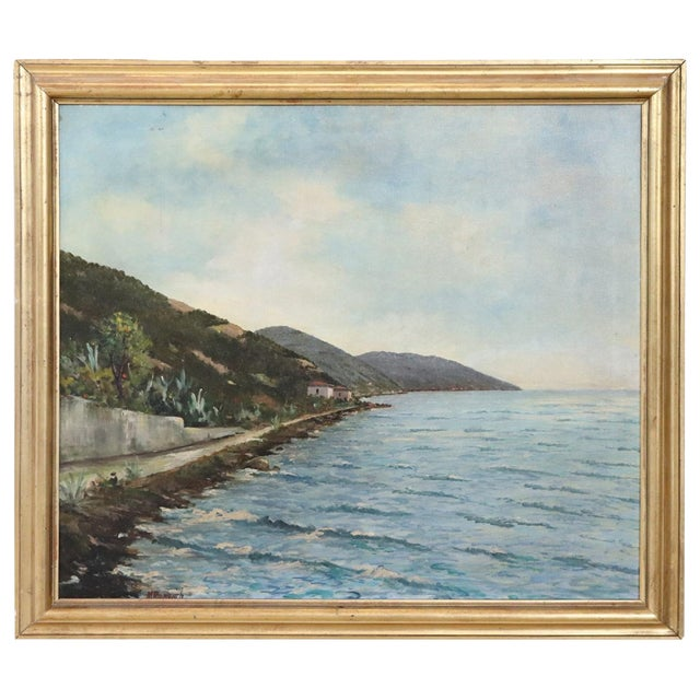 20th Century Oil Painting on Canvas Signed Landscape of the Italian Coast For Sale