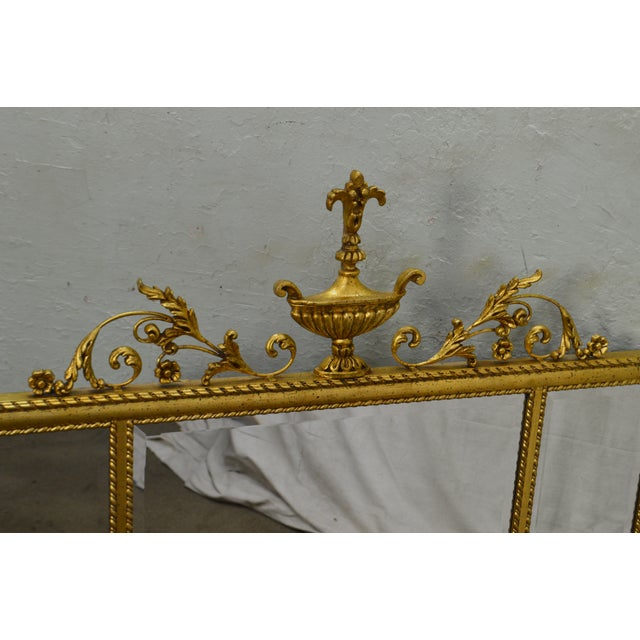 Neoclassical La Barge Neo-Classical Style Gilt 3 Section Beveled Mirror With Urn For Sale - Image 3 of 12