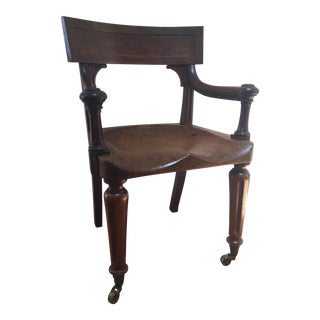 19th Century English Traditional Desk Chair on Castors For Sale