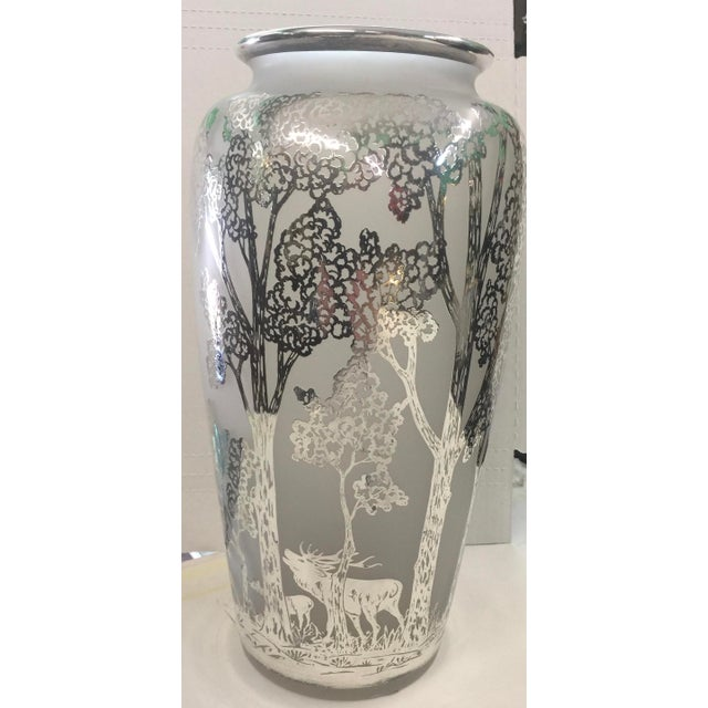 Large antique Silver Overlay vase. In excellent condition, no chips, cracks, etc. Possibly Loetz. I polished this , but it...