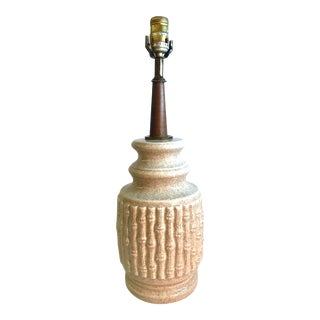 Mid 20th Century Ceramic Faux Bamboo Table Lamp For Sale