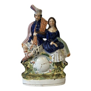 19th Century English Staffordshire Figure With Man & Woman For Sale