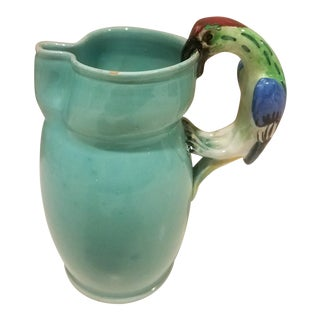 1970s Hand Made and Painted Italian Pitcher With Parrot Handle For Sale