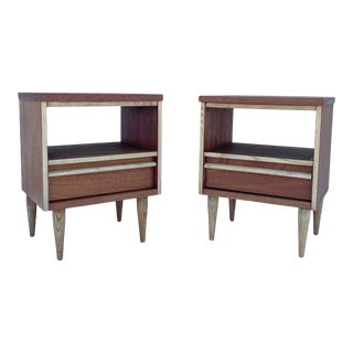 Mid-Century Modern Single Drawer Nightstands- a Pair For Sale