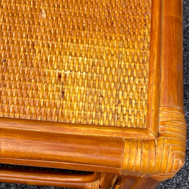 Brown Leather Wrapped Rattan Nesting Tables - Set of 3 For Sale - Image 8 of 13