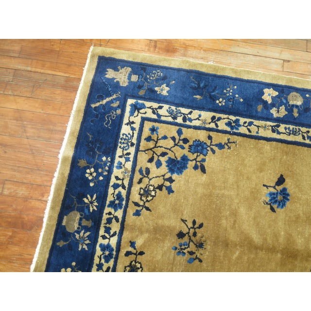 Textile Brown and Blue Antique Chinese Signatured Rug, 5' X 7'9'' For Sale - Image 7 of 9