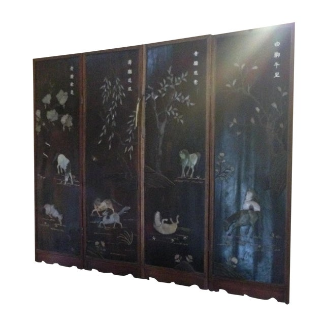 Old Asian Three Panel Screen With Jade and Ivory - Image 1 of 7