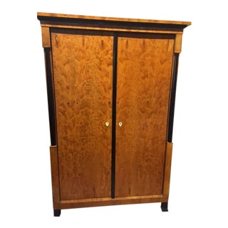 19th Century Biedermeier Satinwood and Ebony Swedish Armoire For Sale