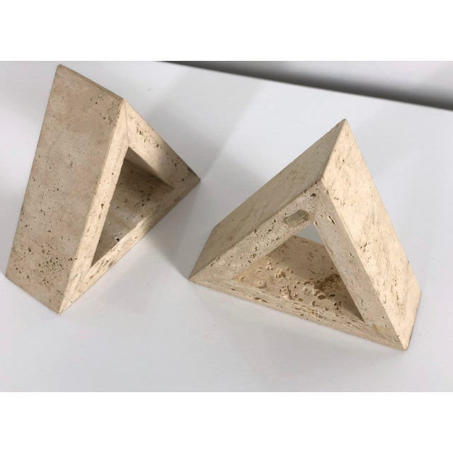 1960s 1960s Fratelli Mannelli for Raymor Triangle Travertine Bookends - a Pair For Sale - Image 5 of 10