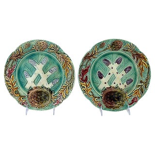 Antique French Majolica Asparagus Plates - A Pair For Sale