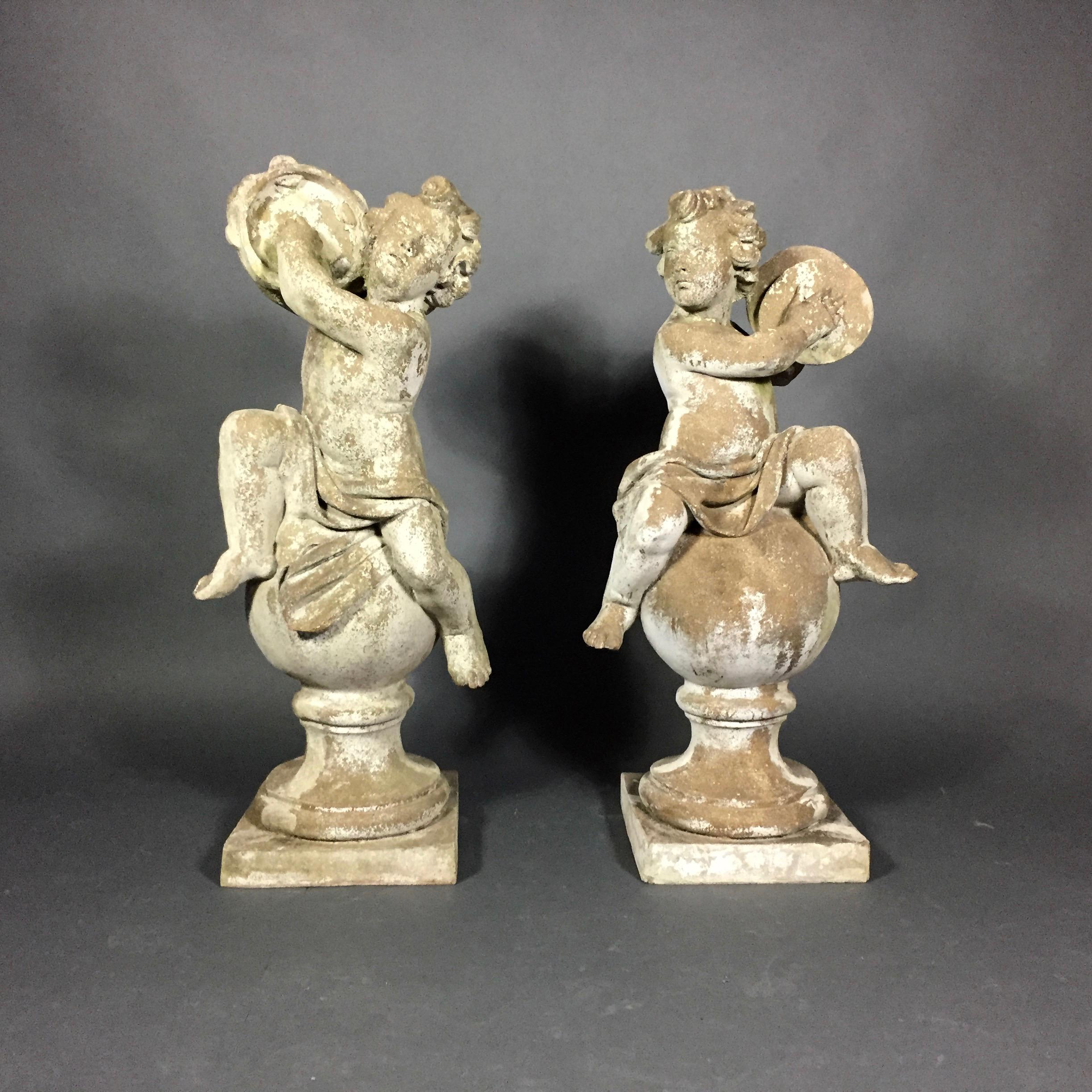 Pair Of Puti Garden Statues, Composite Material, 20th Century For Sale    Image 11