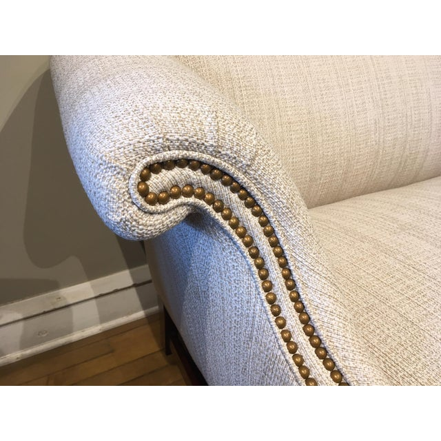 Vintage Parisian White Upholstered Loveseat For Sale - Image 4 of 5
