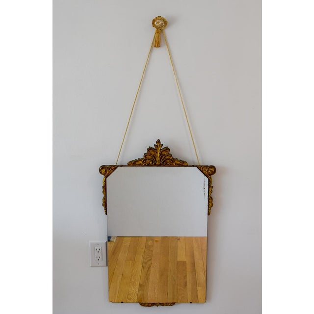 Gold Vintage Wood Carved Golden Tone Wall Mirror For Sale - Image 8 of 8