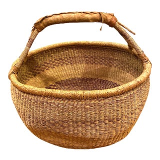 African Bolga Basket With Leather Wrap Handle For Sale