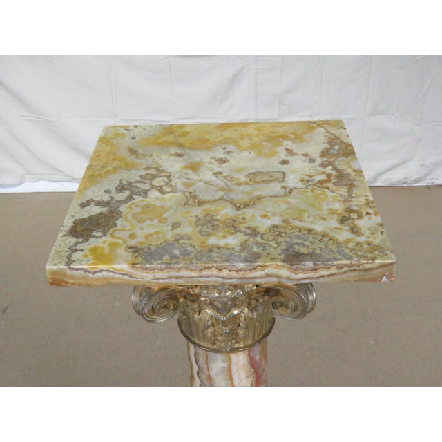 Regency Regency Style Marble / Onyx Pedestal For Sale - Image 3 of 9
