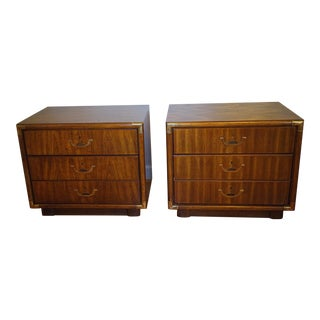 Drexel Accolade Campaign Table Nightstands - A Pair