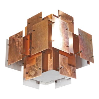 Polished Copper Floating Panel Chandelier by Robert Sonneman For Sale