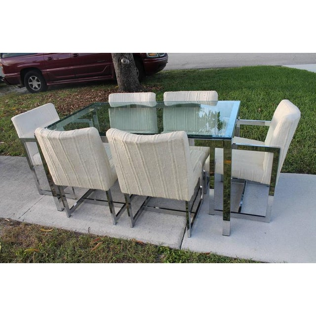 Milo Baughman for DIA Mid-Century Chrome Table & Chairs Dining Set - Set of 7 For Sale In West Palm - Image 6 of 11