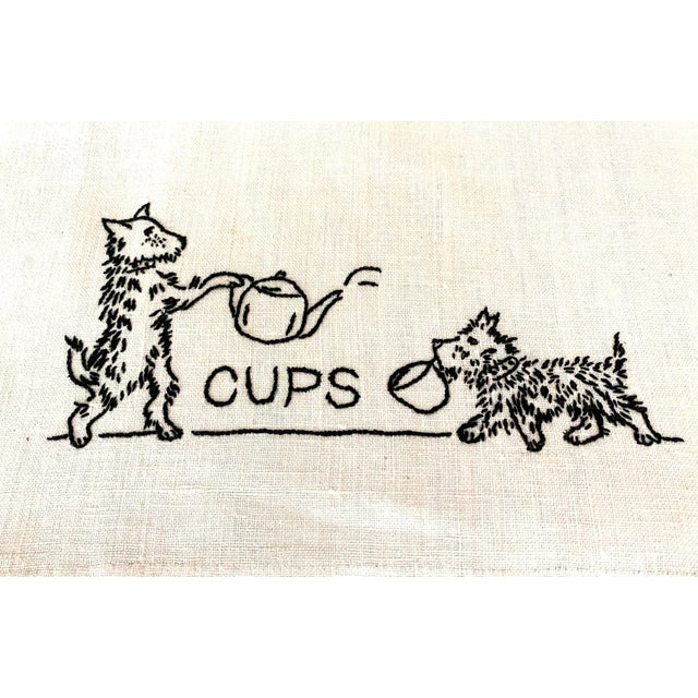 Art Deco Antique Shabby Chic Linen Embroidered Dish Towels, Set 4 For Sale - Image 3 of 7
