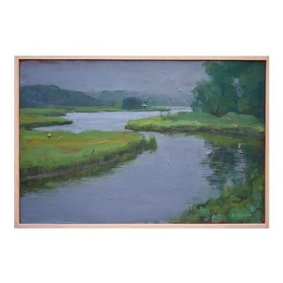"""Inlet With Fog"" Contemporary Plein Air Painting by Stephen Remick For Sale"