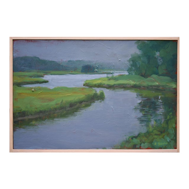 """""""Inlet With Fog"""" Contemporary Plein Air Painting by Stephen Remick For Sale"""