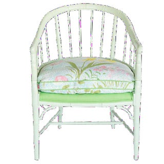 Faux Bamboo Green Floral Armchair For Sale
