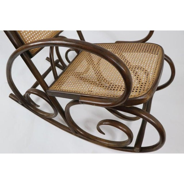 Thornet 1950s Vintage Thornet Bentwood Rocking Chair For Sale - Image 4 of 6