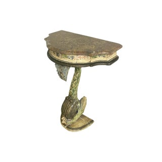 Antique Painted Carved Demi-Lune Table Stand For Sale