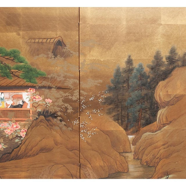 Fabric 1920s Vintage Japanese Landscape Scene Byobu Screen For Sale - Image 7 of 13