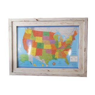 United States Map With Beach Style Frame