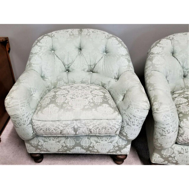 Drexel Heritage Drexel Heritage Upholstery Collection Damask Tufted Barrel Club Armchairs - Set of 2 For Sale - Image 4 of 9