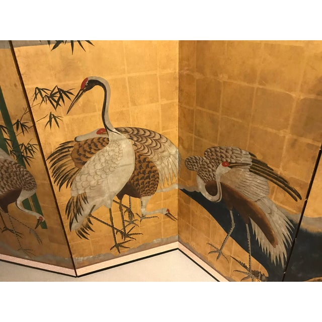 18th Century Japanese Byobu Hand Painted Cranes Watercolor Gold Leaf on Paper For Sale In Detroit - Image 6 of 8