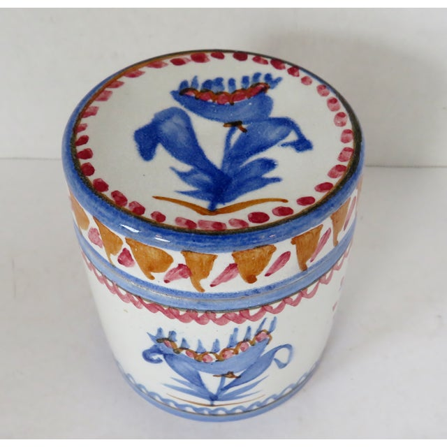 Late 20th Century Handpainted Italian Ceramic Container For Sale - Image 5 of 8