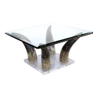 Horn & Lucite Coffee Table or Low Side Table With Glass Top For Sale