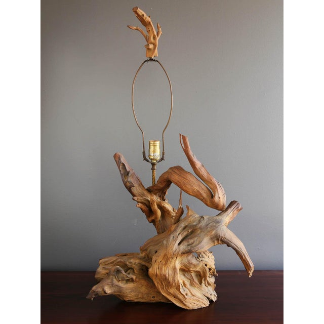 Driftwood Table Lamp with Woven Shade - Image 5 of 7