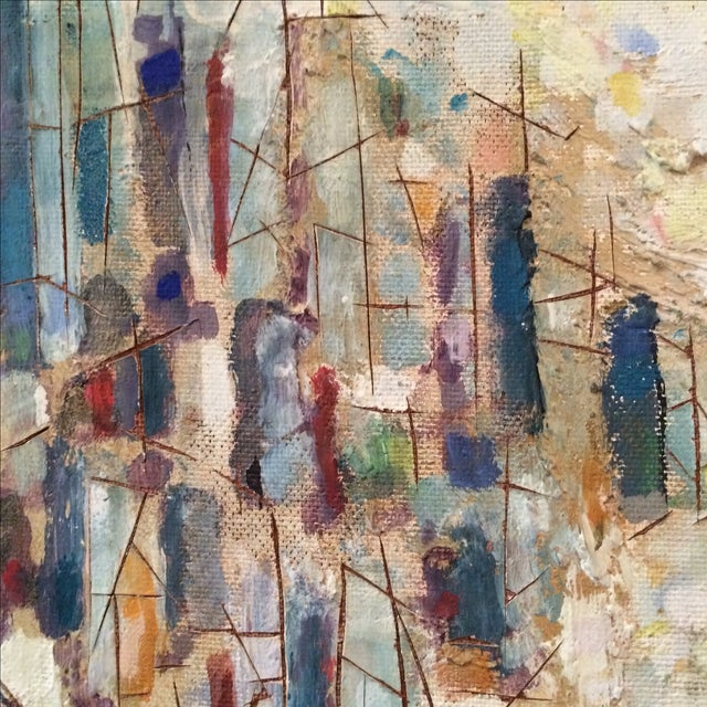 Mid-Century Abstract Cityscape Painting - Image 5 of 9